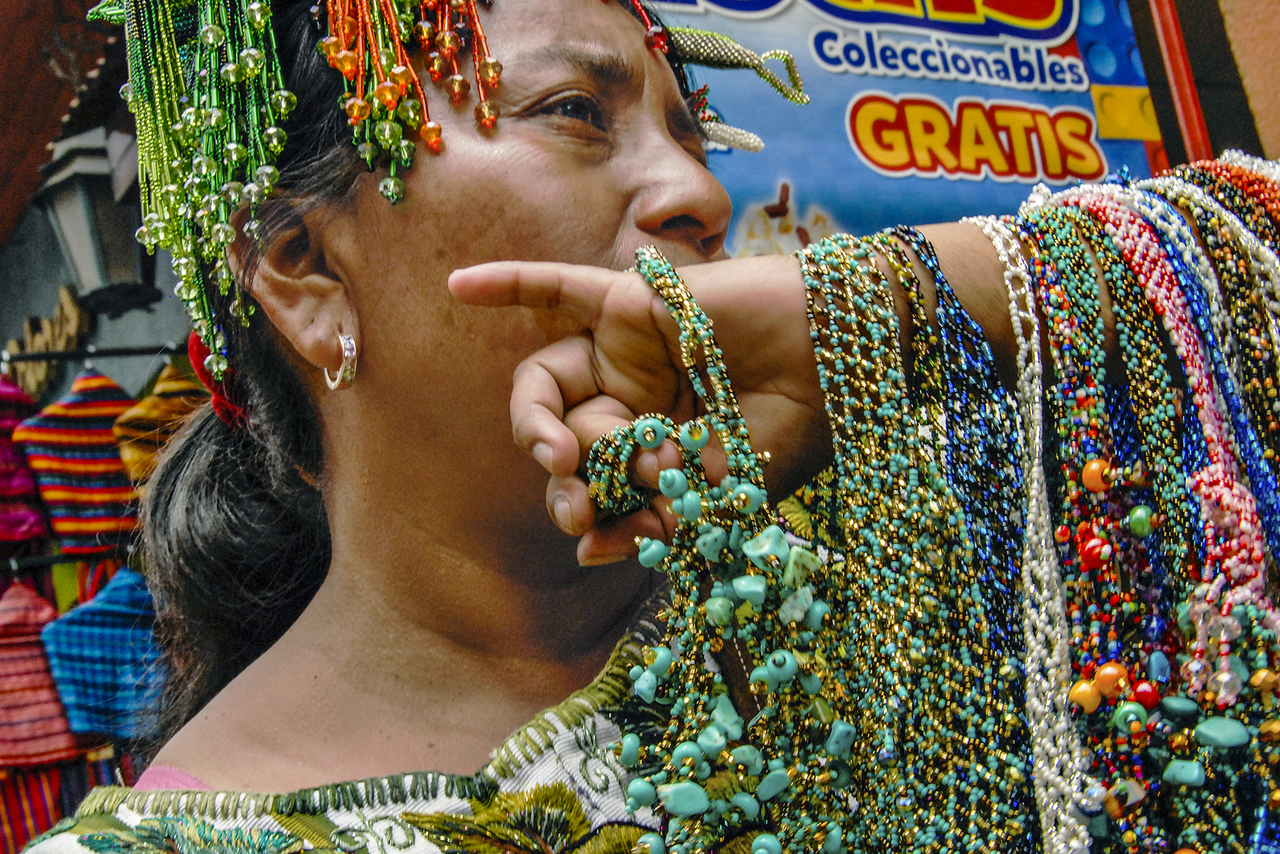 Woman selling jewelry