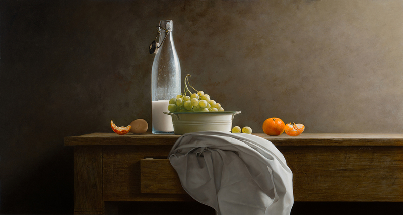 Old Milk bottle and Grapes