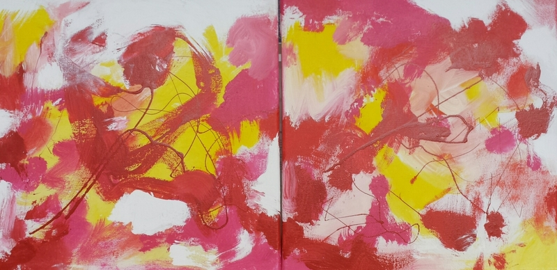 red abstract diptych I2016