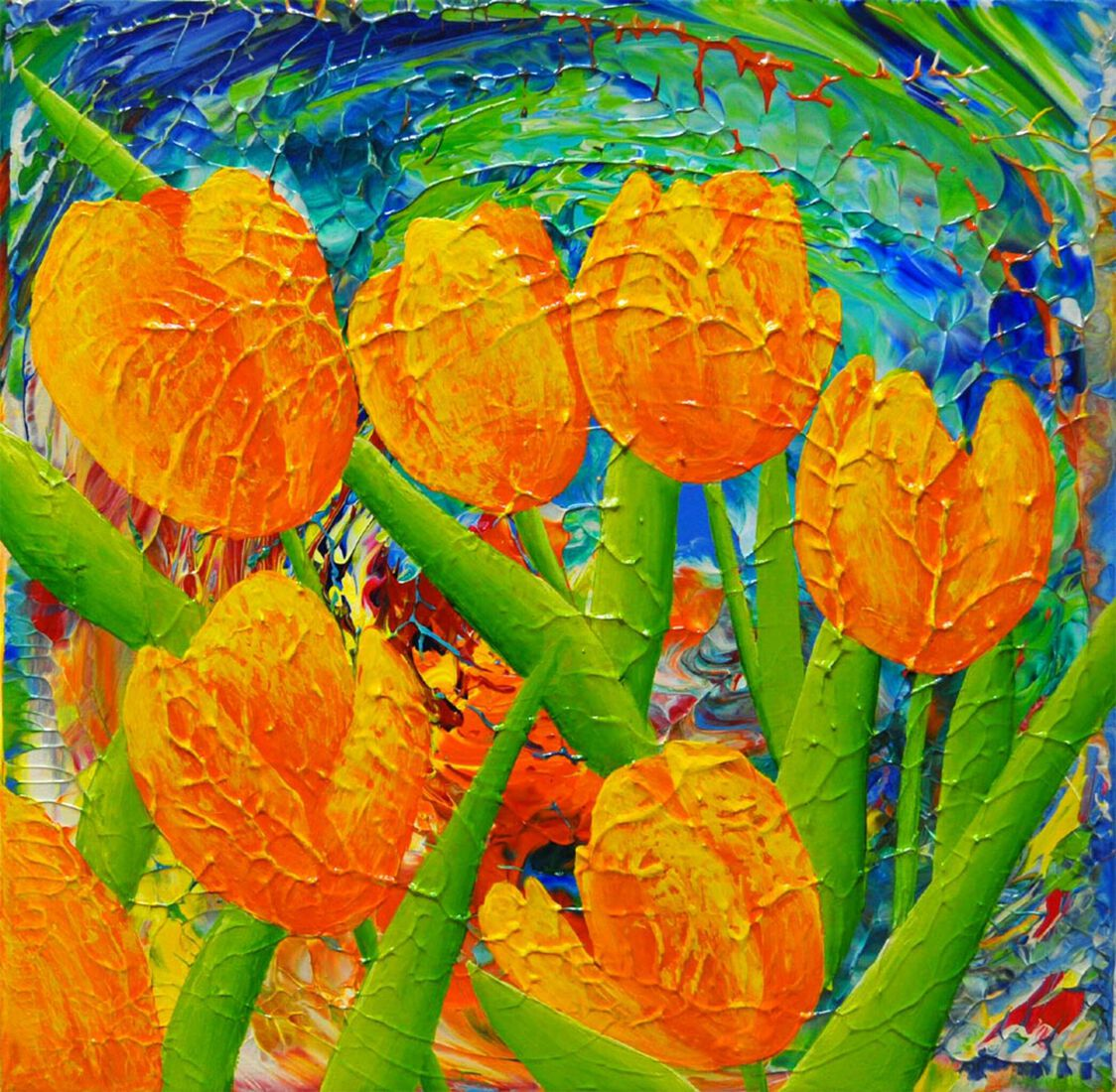 7 orange yellow tulips