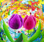 Colorful flowerpaintings