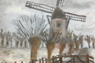 Molen en wilgen in de winter