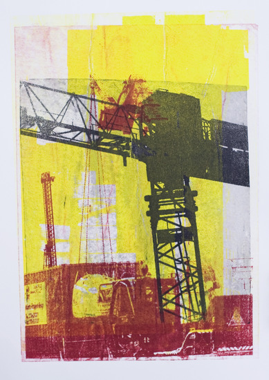 Cranes at the constructions of the Public Library Amsterdam City - graphic collage art