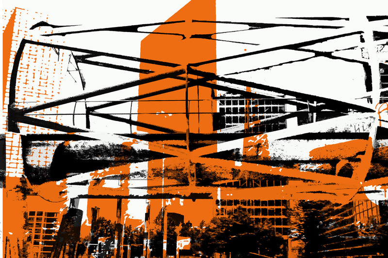 'Randstad Rail'- digital art-print of modern architecture, The Hague - for sale