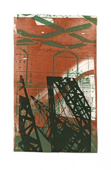 building of the hall of Central Station The Hague; - in monoprint