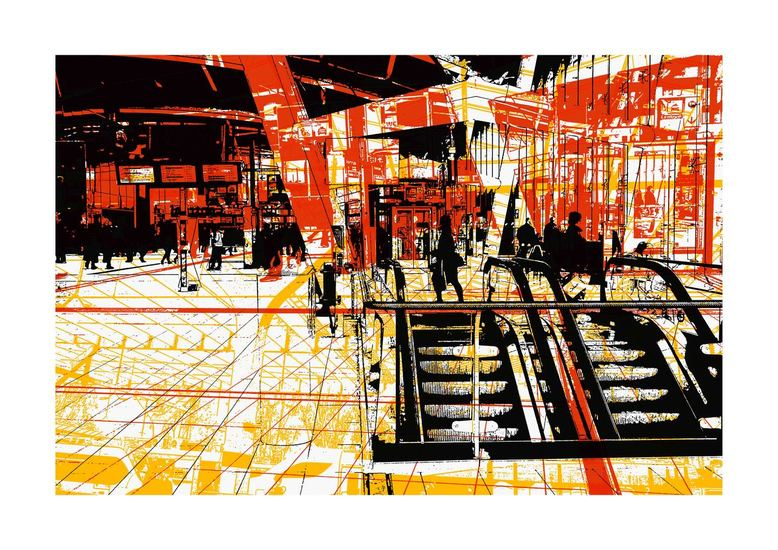 Stationshal Utrecht Centraal.-digitale art print