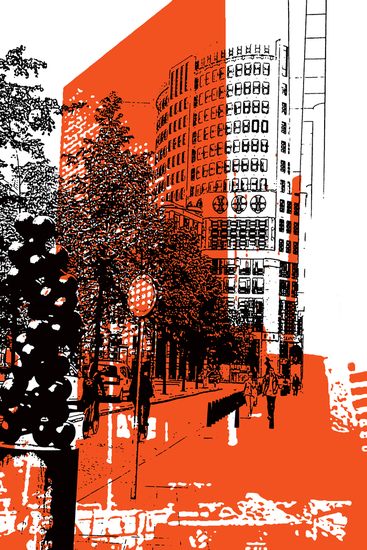 Den Haag in zwart en oranje,- digitale art print