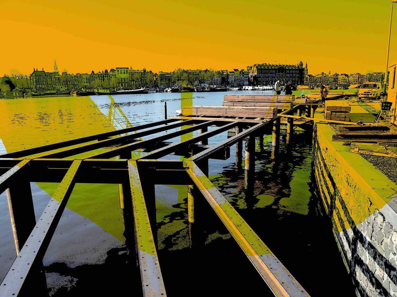 Highways over the Water - digitale art-print van Hilly van Eerten