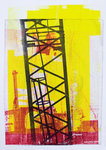 construction cranes in the new city at modern building locations; in mono-prints: modern graphic collage art - by Dutch artist Hilly van Eerten. My graphic pictures of the modern building cranes are for sale - worldwide shipping; in unica mono-print.