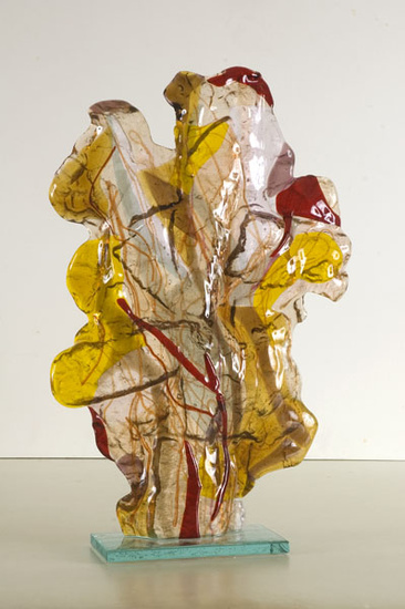 'Fossil' - colorful glass sculpture in glass fusing technique