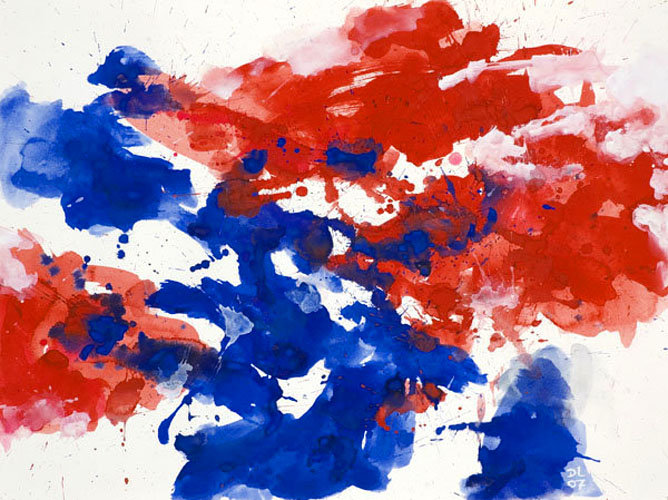 'Red and Blue' watercolor G.622