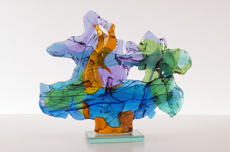 'Landscape' - glass fusing sculpture art