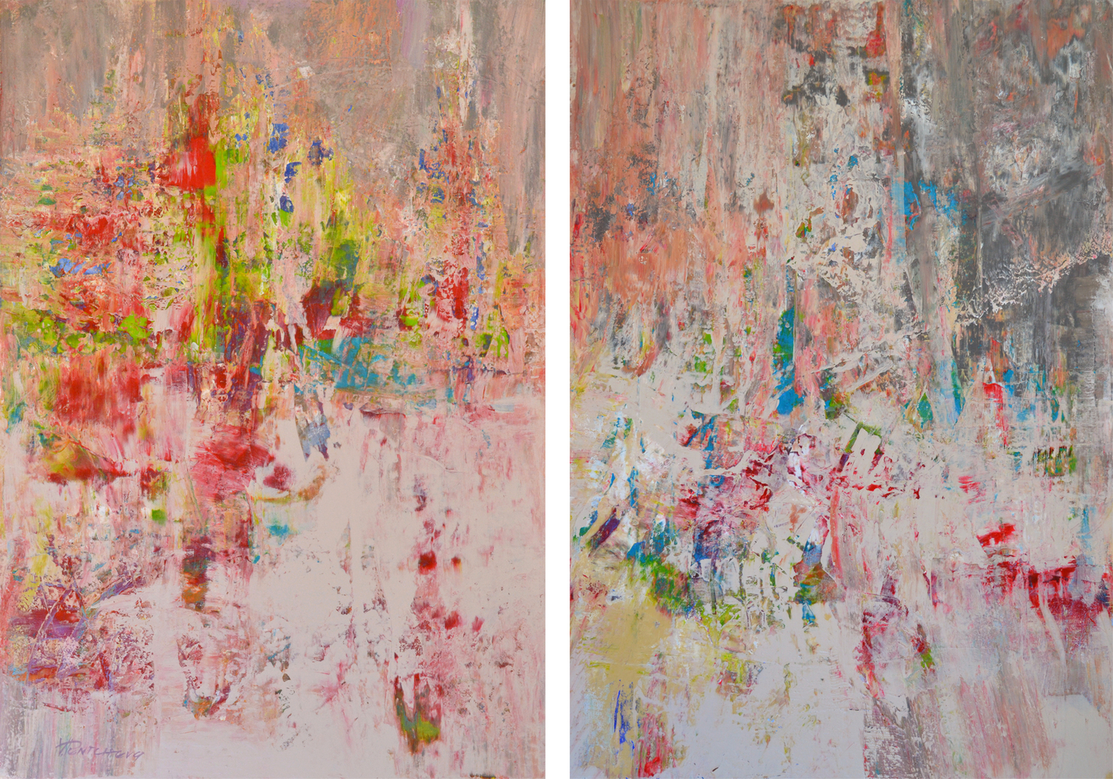 Blossoms at dusk. Diptych