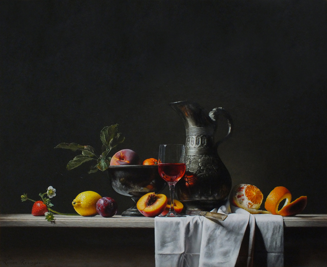 Still life with can and fruit