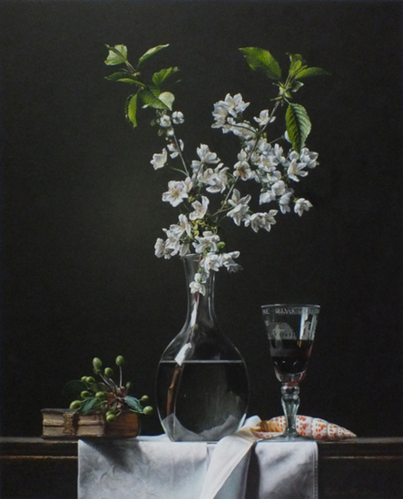 Still life with cherry blossom