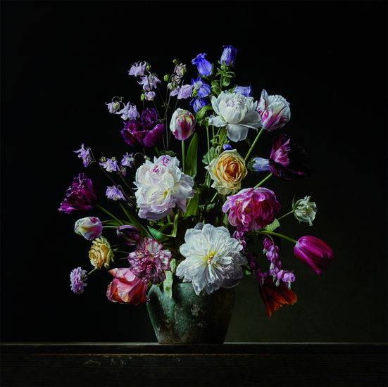 Flower still life with peonies and tulips