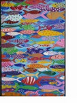 The Fishes I paint represent the abundancy of women in our society and how men approach us.