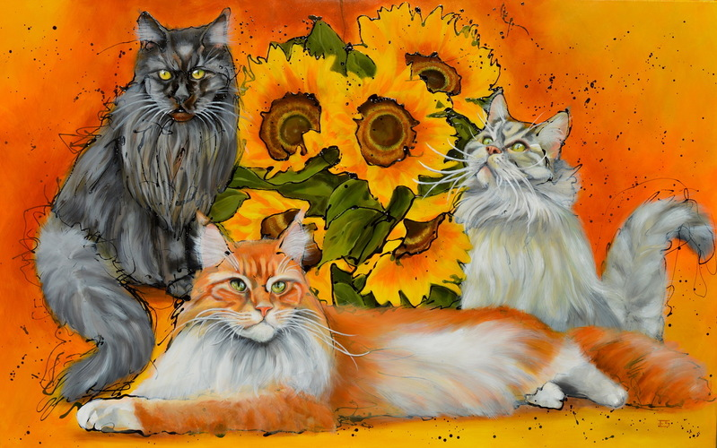 3 Fluffy Flowercats