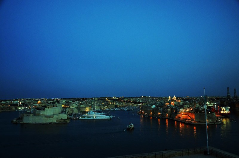 Valletta harbor at night