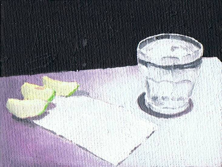 still life with water glass