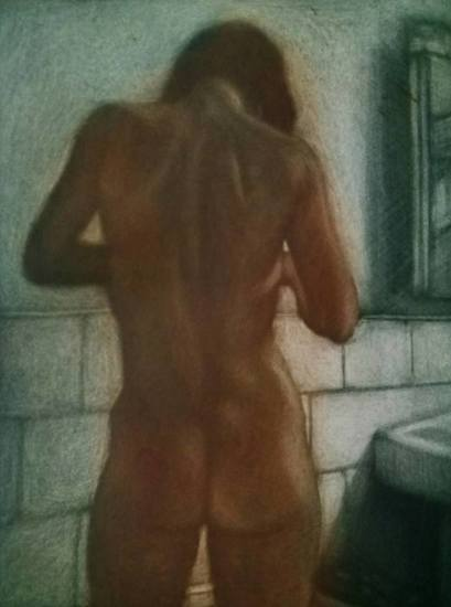 Bathroom; standing nude