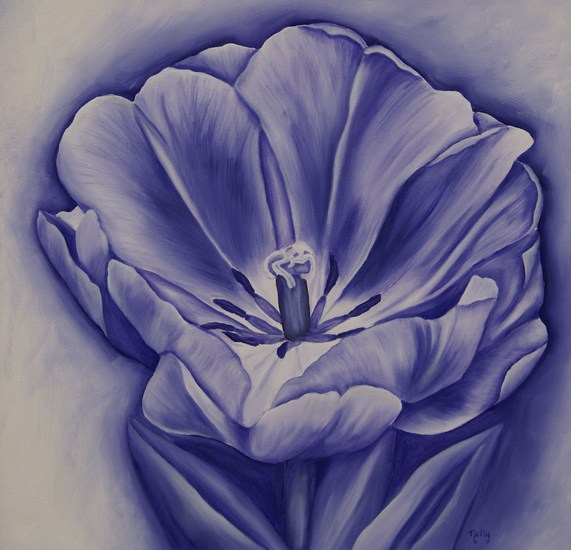 Tulp in Blue & White - Sepia