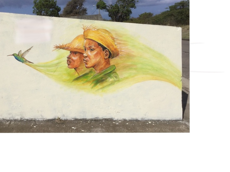 Mural of Boys and Hummingbird on St Eustatius