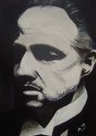 Portret van the godfather (don corleone)
