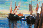 I left Amsterdam after the sale of boat Marlé, but painted the surroundings in '91 on another boat, in the province of Zeeland near Zierikzee. The years of painting and moored in a Dutch yacht harbor lasted from 1983 until 1995.