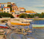 The fishermen from Bages catch eel and green crab in a bay of the Mediterranean. The small town of Collioure is near Bages and near the Spanish border. Here around the year 1900 -painters like Dérain, Vlaminck, Matisse, Braque and Picasso used to meet and paint outside.