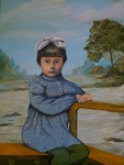 Oilpainting of a young girl in a landscape