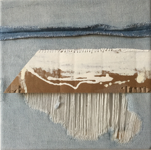Recycling blue jeans, collage with divers materials