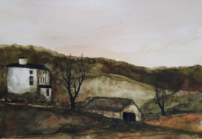 Farmhouse on a late autumn aftenoon