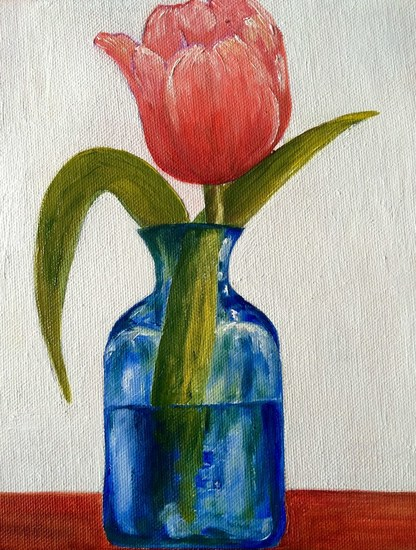Tulip in blue vase