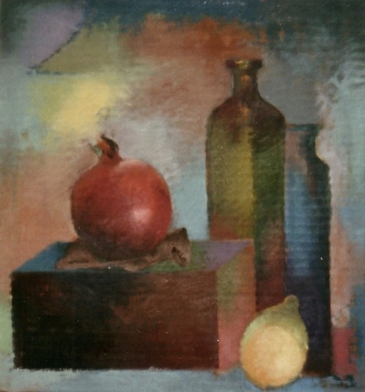 Still life with pomegranate and lemon