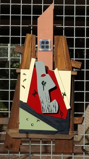 Easel with canvas and head