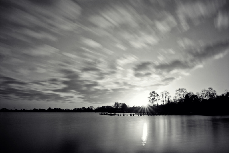 Sunrise at the lake (B&W)