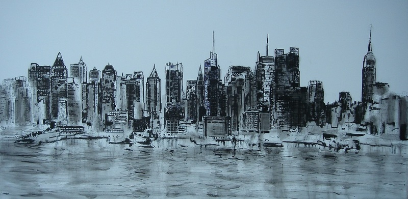 Skyline New York inkt op doek MARQUA007 € 795