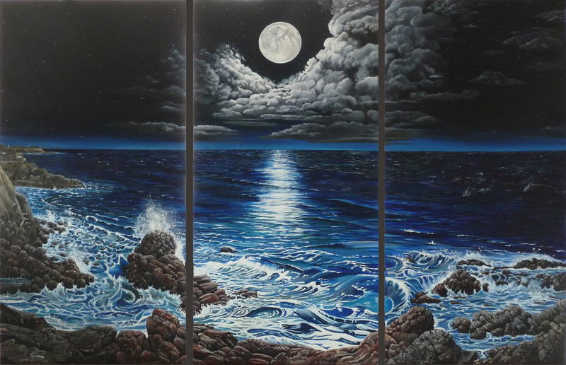 Moonlight - 3 triptich - The ocean