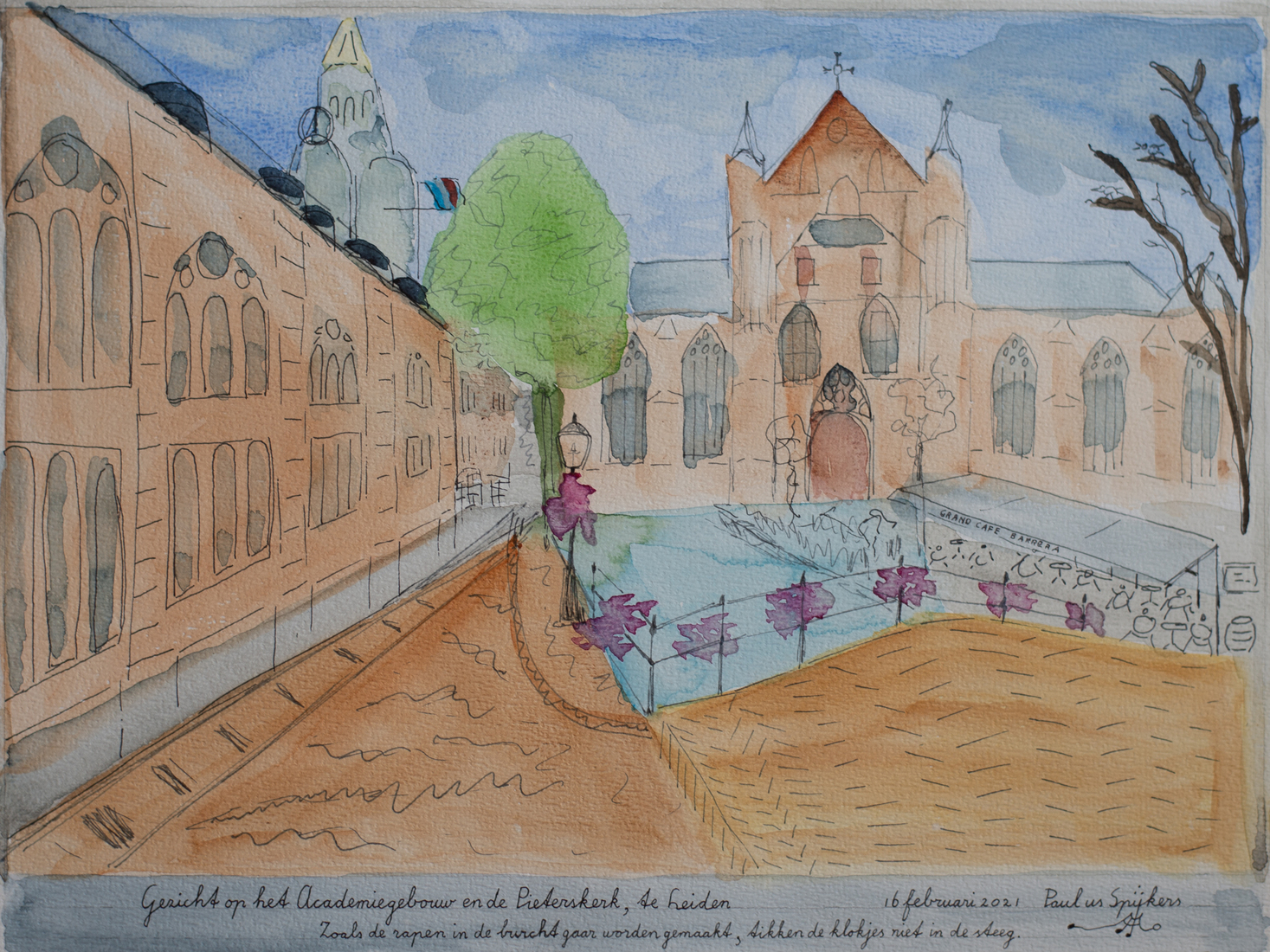 Gezicht op het Academiegebouw en de Pieterskerk, te Leiden (View of the Academy and The Pieterskerk, in Leiden)