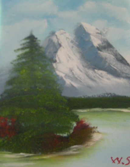mountain and tree on the water