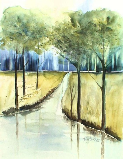 Bosbeek, aquarel van landschap