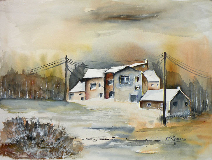 Wintertafereel, aquarel van winterlandschap