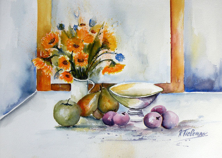 Stilleven met Fruit, aquarel