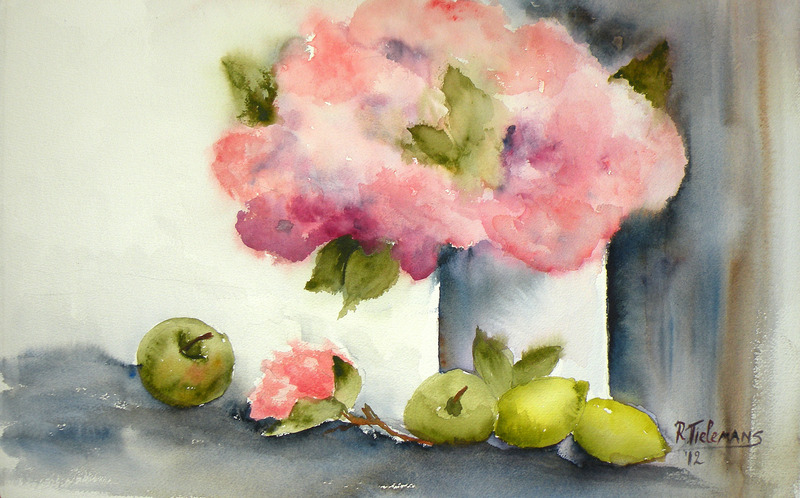 Bloemen en Fruit, aquarel