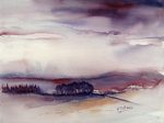 Aquarel, landschap