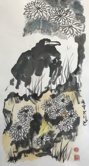 Crow with chrysanthemums