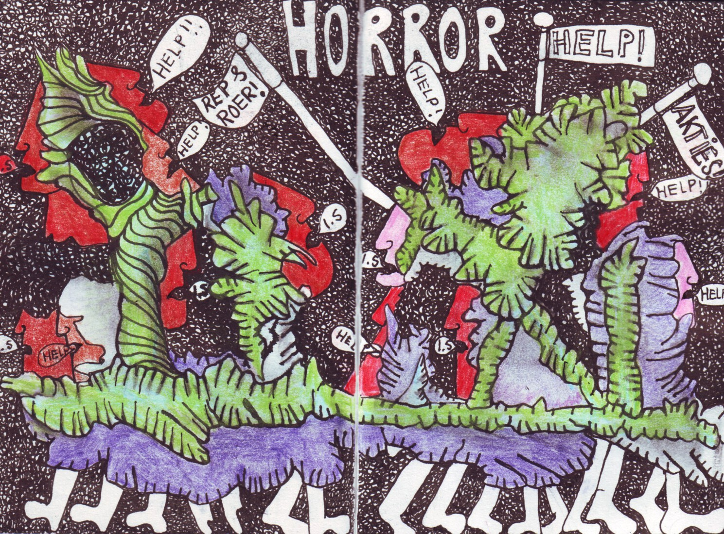 Outsiderart ; Coronacrisis ; They are fighting against a horror script!