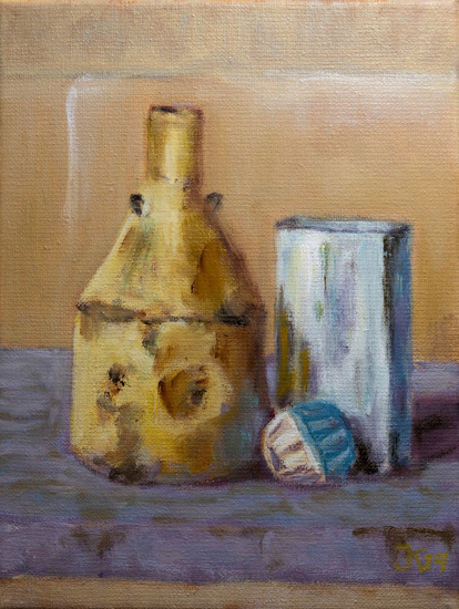 still life with oilcans