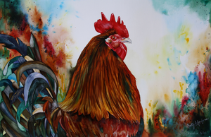 Chickens and Roosters in watercolour painted by special technique on canvas.